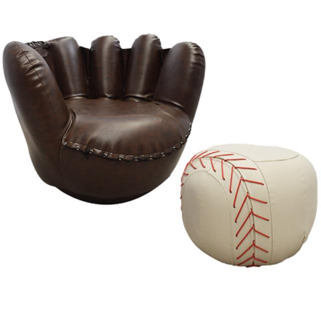 Where To Find Baseball Glove Chair With White Ottoman In San Francisco
